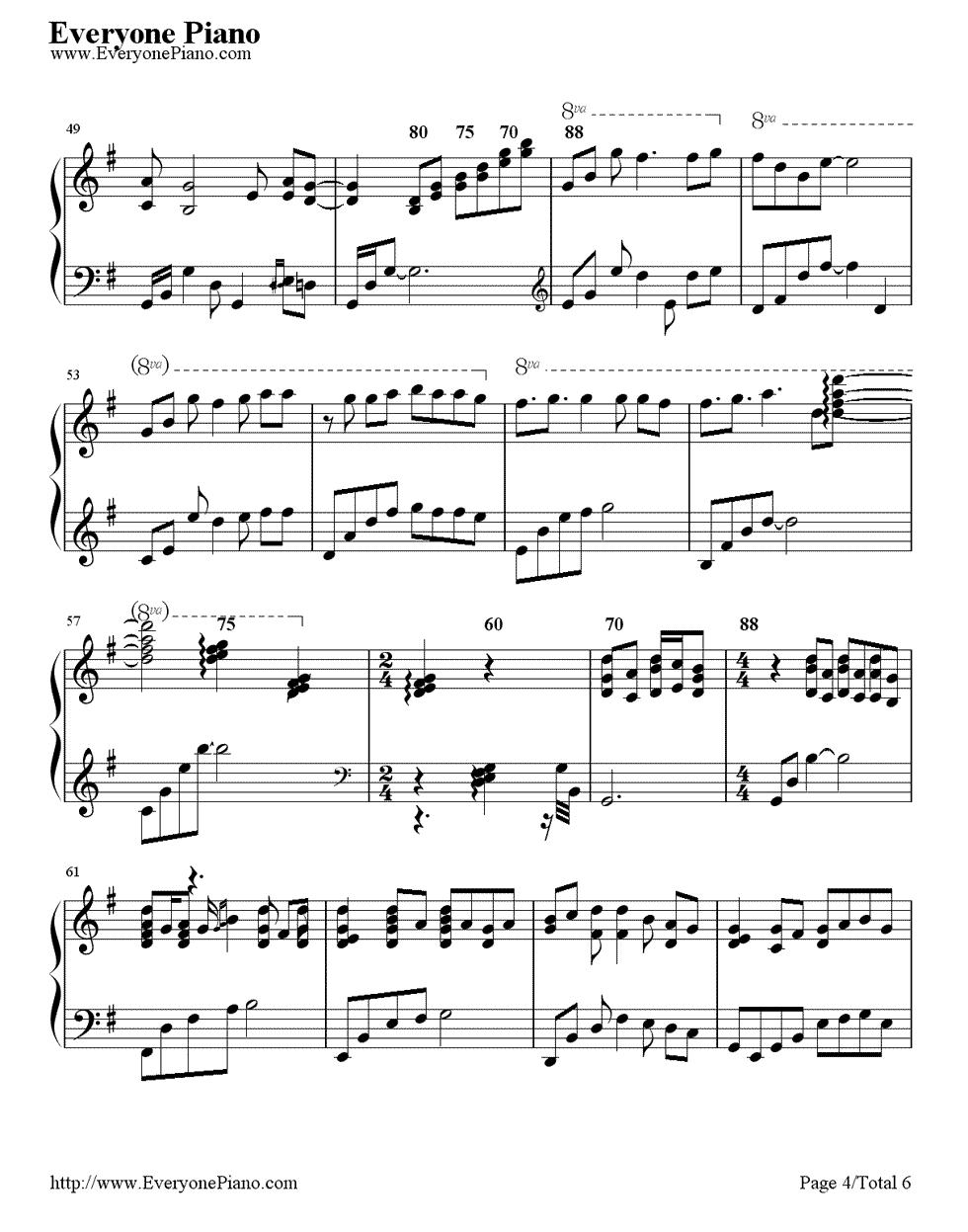 《First Love》(宇多田光演唱)钢琴谱第4张