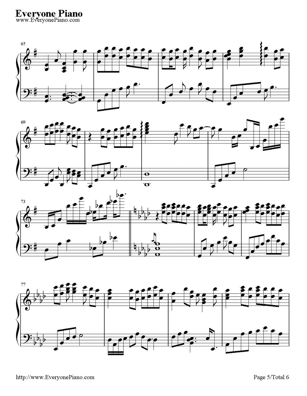 《First Love》(宇多田光演唱)钢琴谱第5张