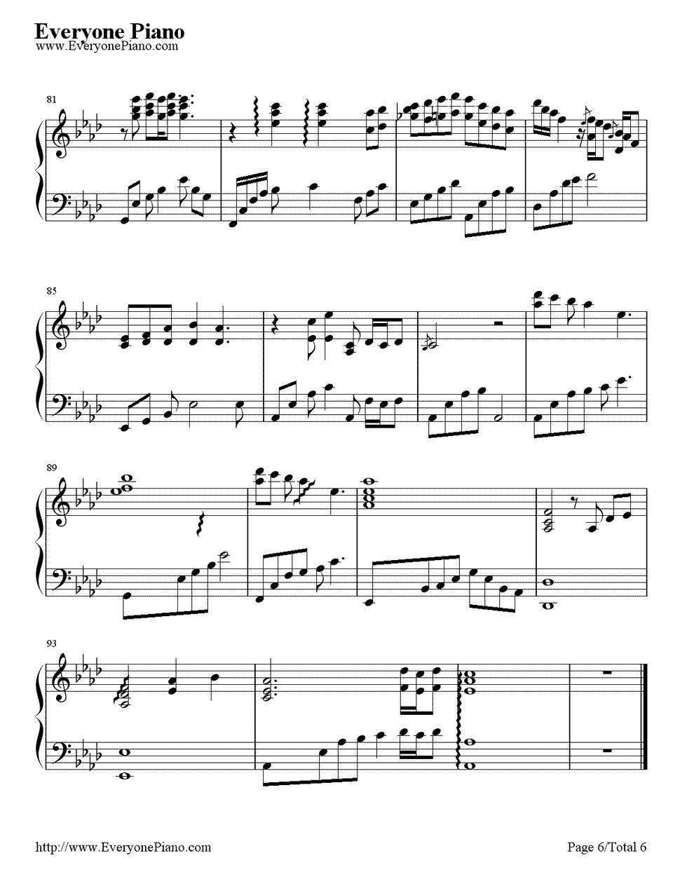 《First Love》(宇多田光演唱)钢琴谱第6张