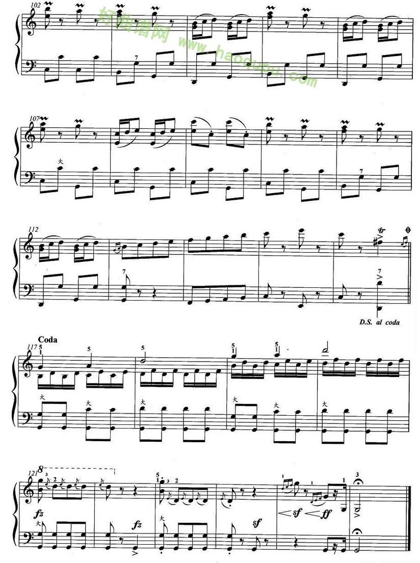 《手风琴考级第五级:4、乐曲》手风琴曲谱第3张