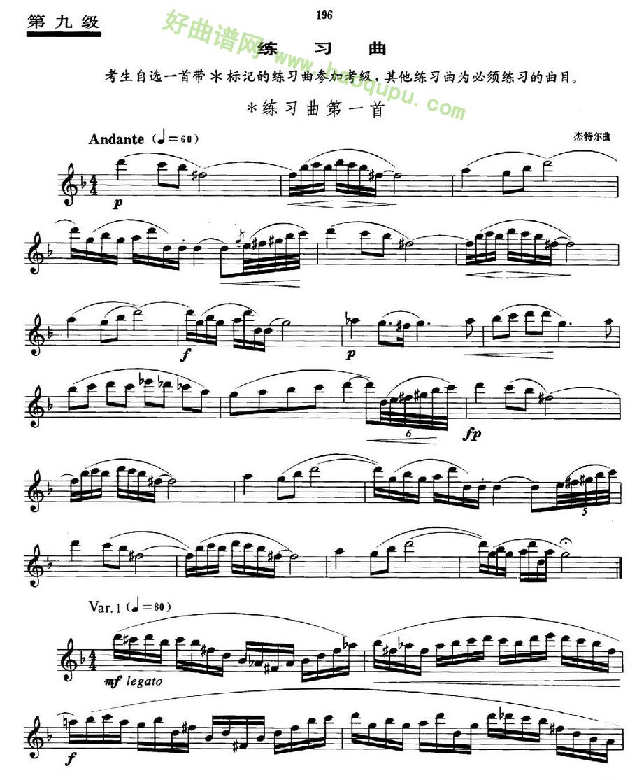 《萨克斯管业余考级九级练习曲第一首》萨克斯简谱第1张