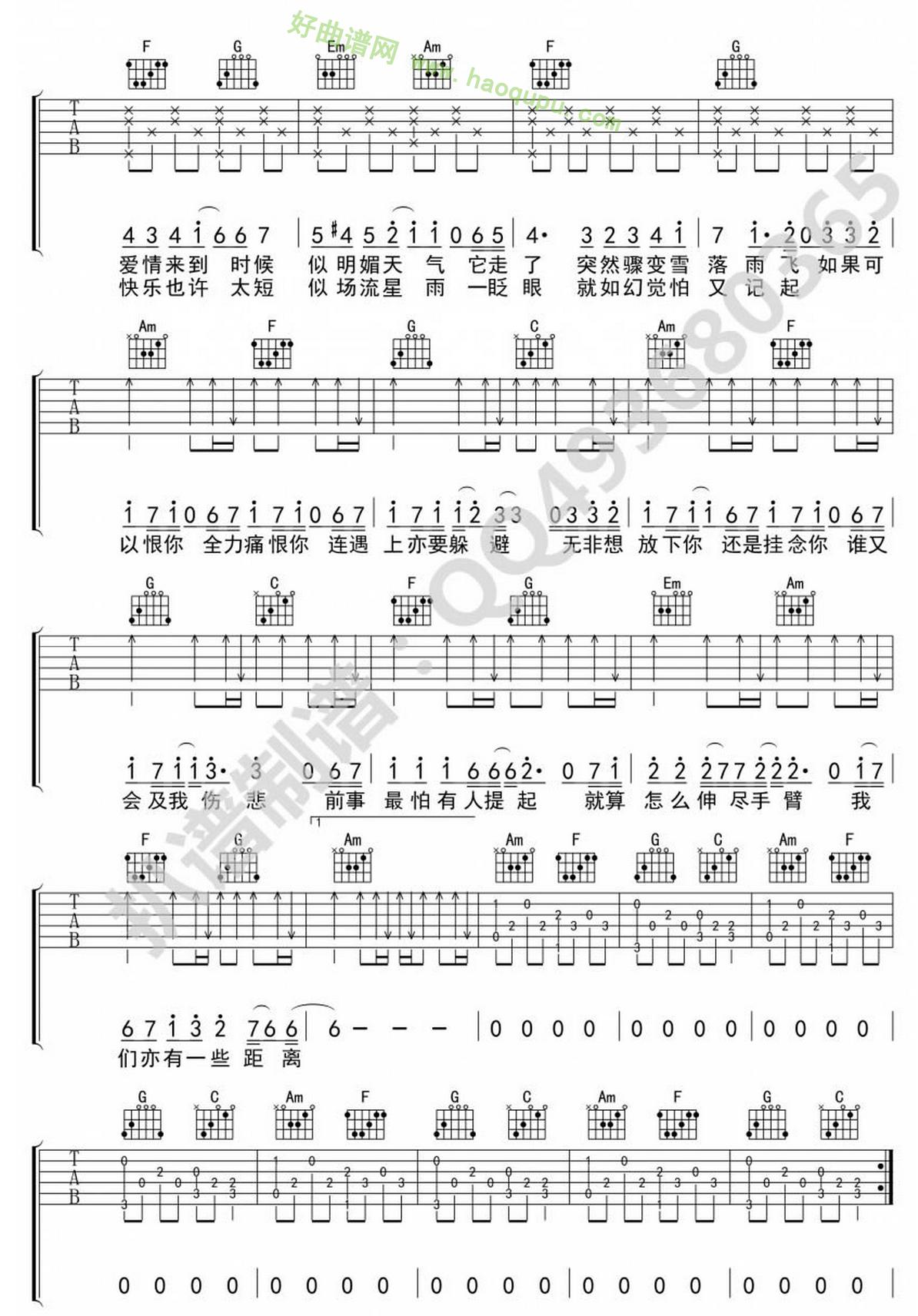 《爱在记忆中找你》(林峰演唱)吉他谱第2张