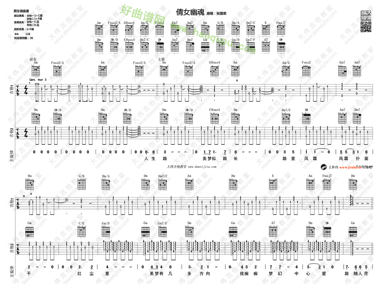 《倩女幽魂》(张国荣演唱)吉他谱第1张