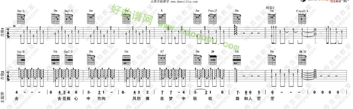 《倩女幽魂》(张国荣演唱)吉他谱第3张
