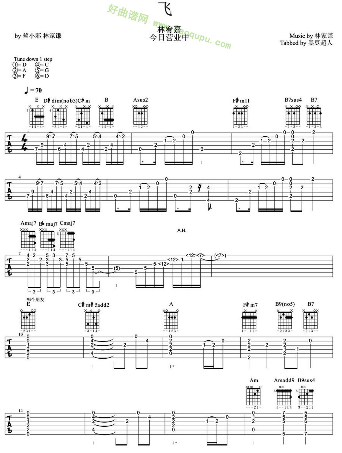 《飞》(林宥嘉演唱)吉他谱第1张