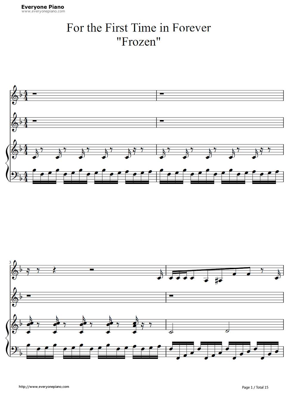 《冰雪奇缘插曲》钢琴谱第1张
